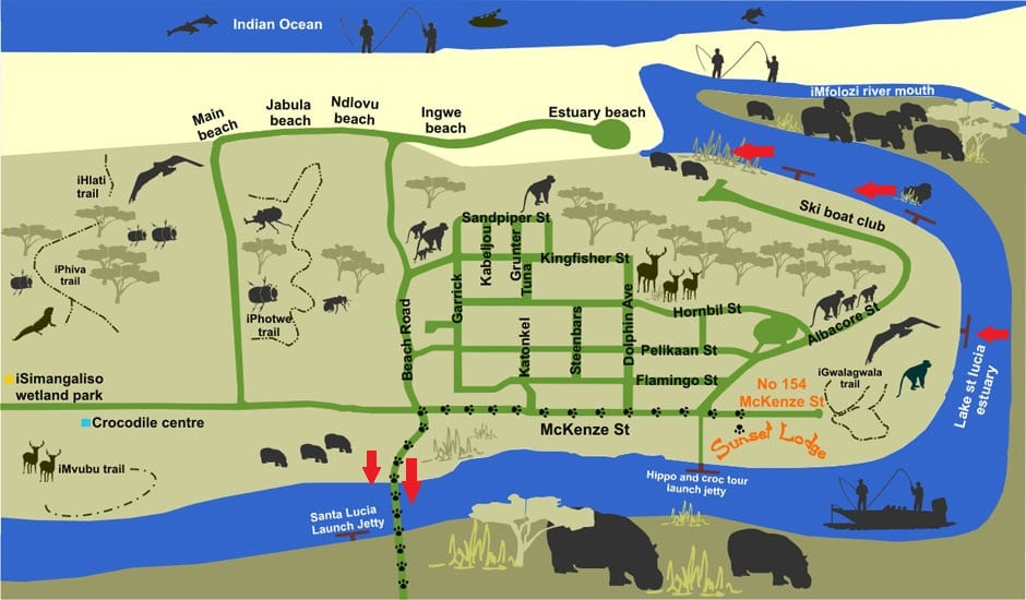 best place to see hippos day time st lucia south africa map