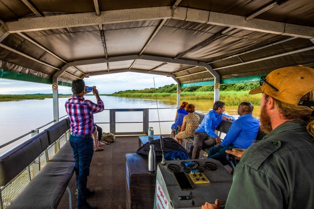clients on hippo & croc boat cruise