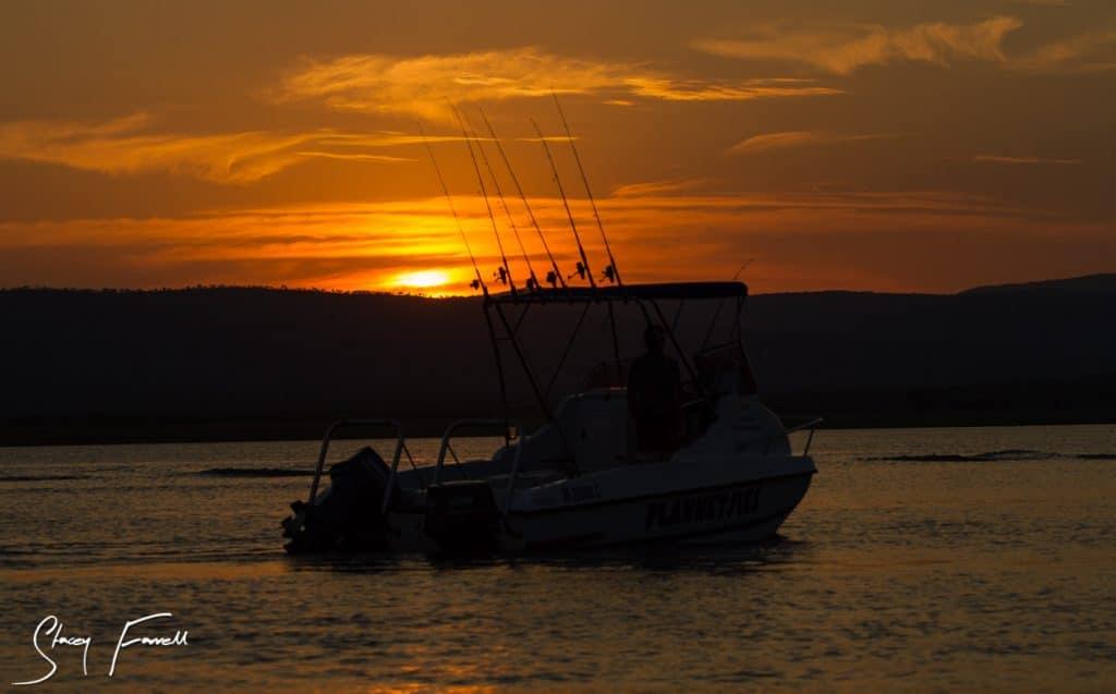 golden sunset over the jozini dam