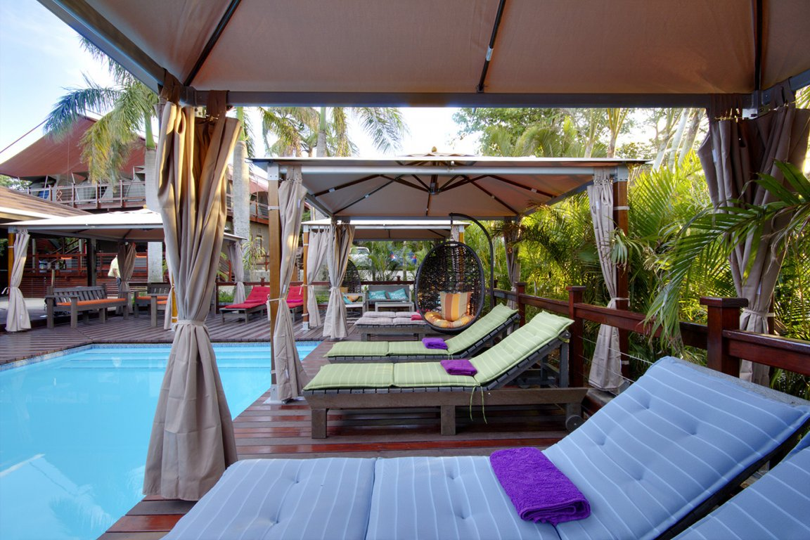 urban glamping st lucia poolside