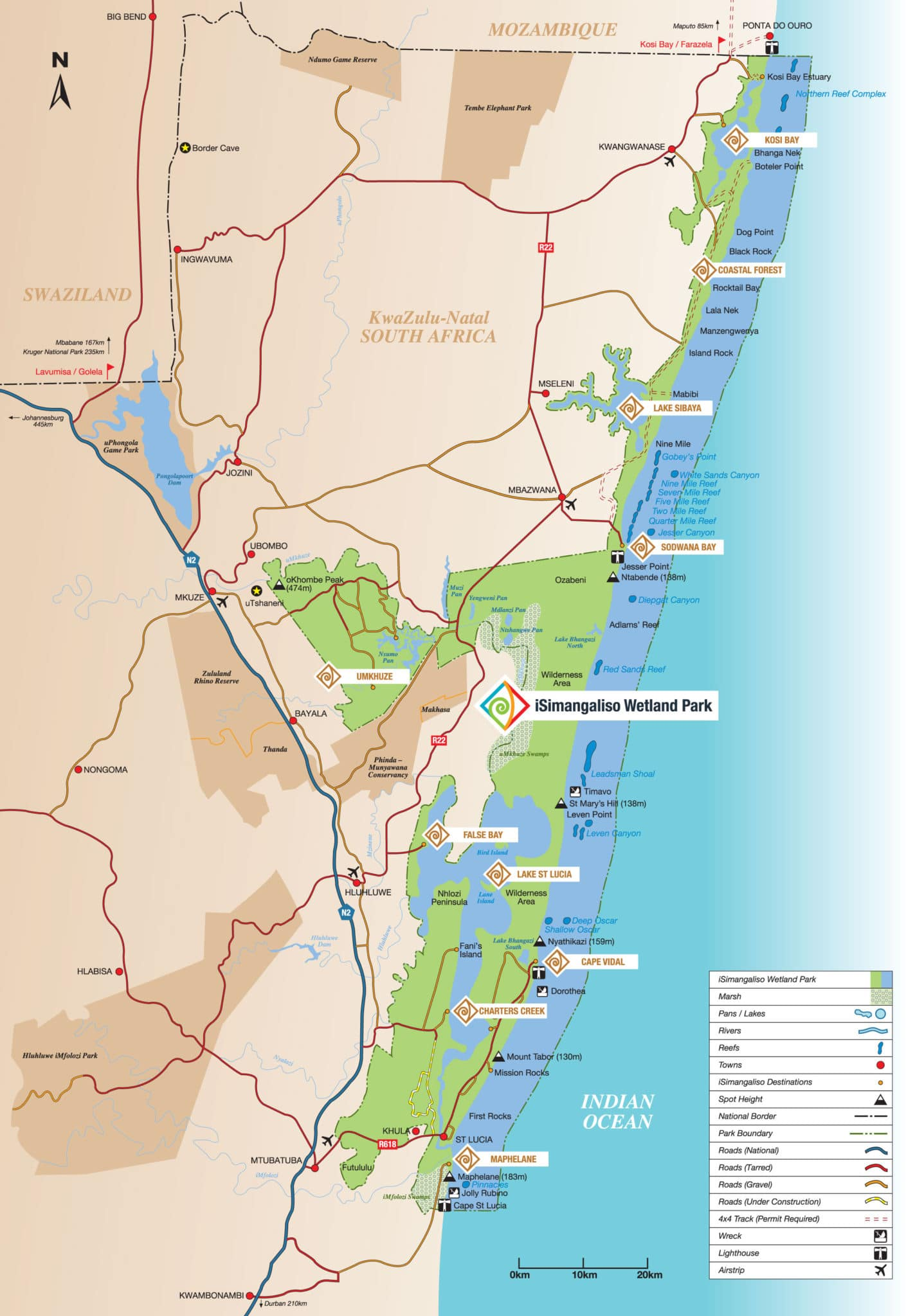 iSimangaliso wetland park gate access points map