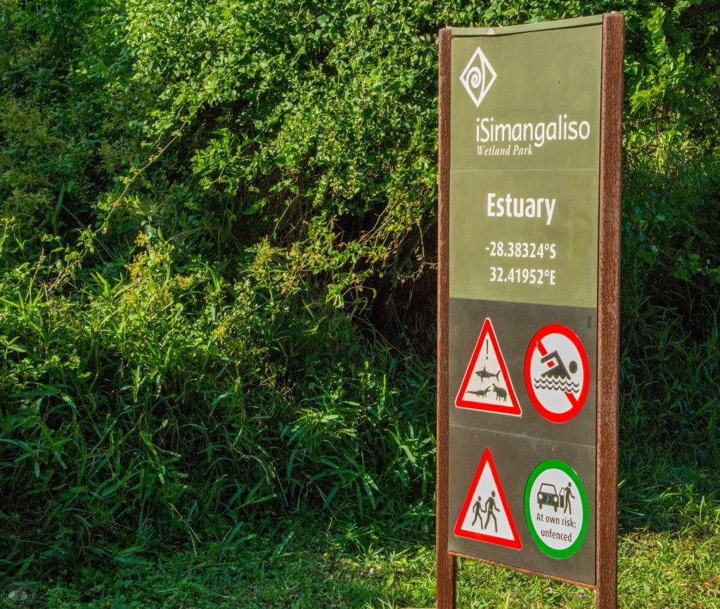 st lucia campsite sign estuary warning